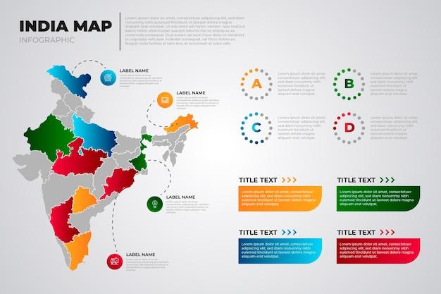 Carte De L'inde Dégradé De Couleur Infographique Sur Fond Clair Vecteur gratuit