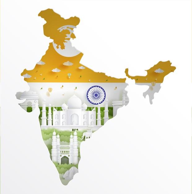 Carte de l'inde avec monument célèbre et drapeau de l'inde Vecteur Premium