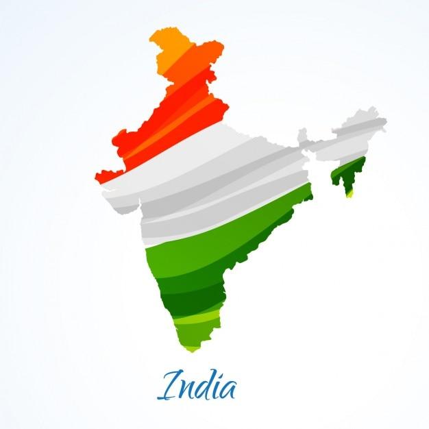 Carte de l'inde avec tricolore Vecteur gratuit