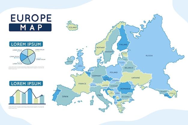 Carte Infographique De L'europe Dessinée à La Main Vecteur gratuit