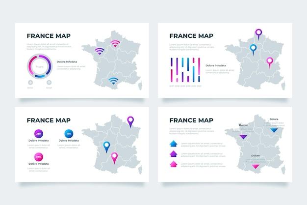 Carte Infographique De Gradient De France Vecteur gratuit