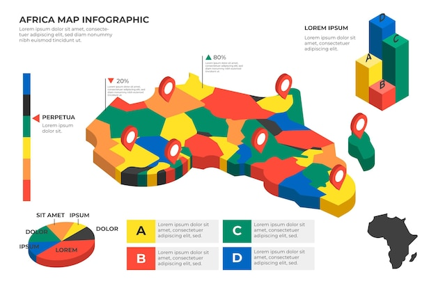 Carte Infographique Isométrique De L'afrique Vecteur Premium