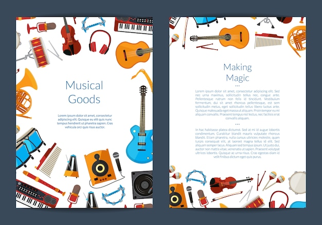 Carte D'instruments De Musique De Dessin Animé Vecteur Premium