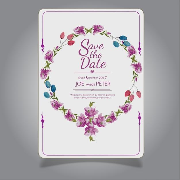 Carte D'invitaion De Mariage Floral Pourpre à L'aquarelle Dessinée à La Main Vecteur Premium
