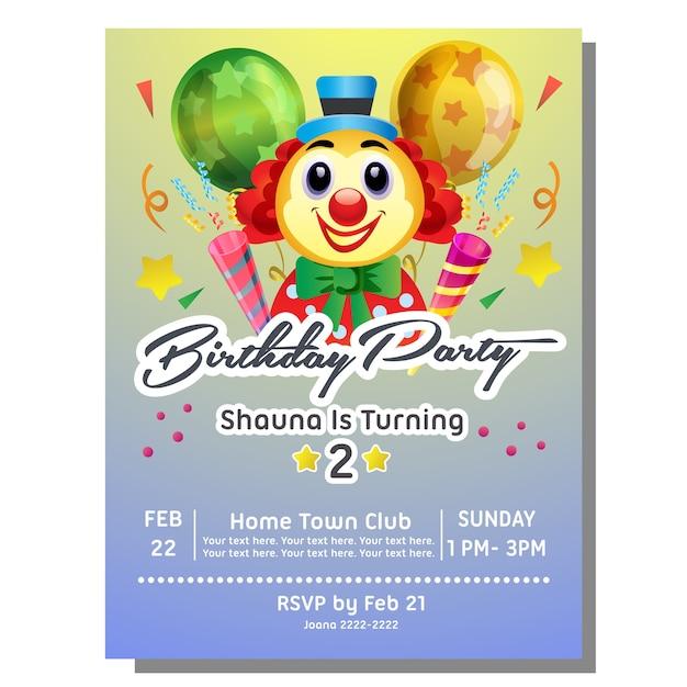 Carte D Invitation Anniversaire Fete Avec Clown Vecteur Premium