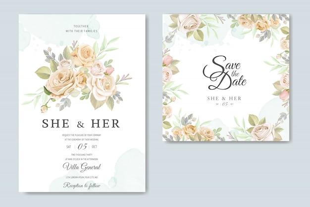 Carte d'invitation avec beau modèle floral Vecteur Premium