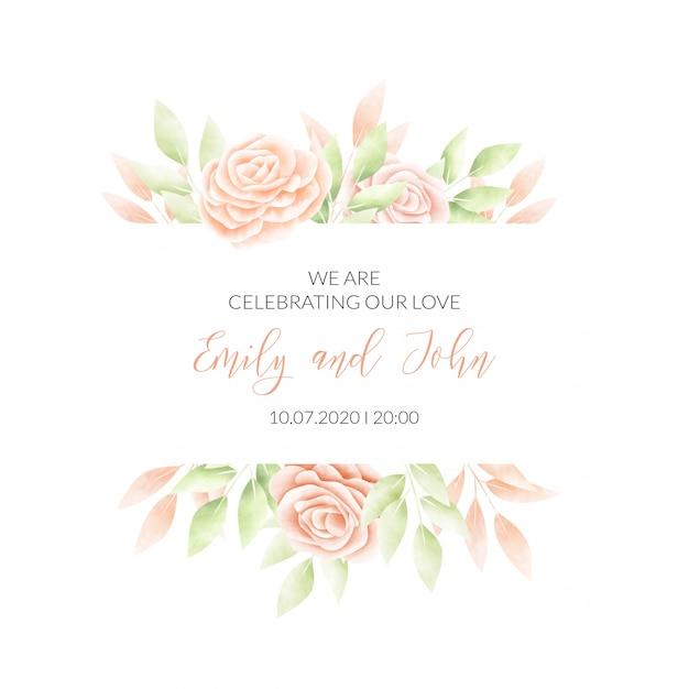 Carte D'invitation De Cadre Floral Aquarelle Vecteur gratuit