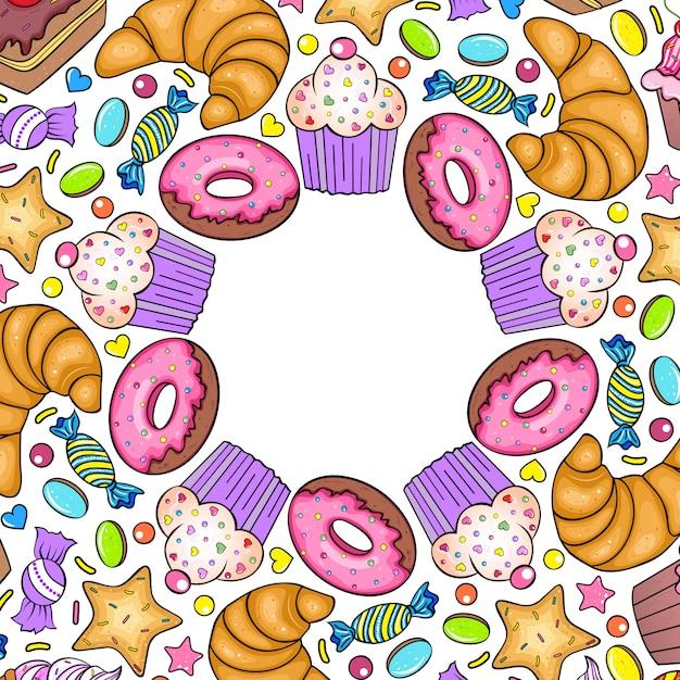 Carte d'invitation avec divers bonbons sur fond blanc. Vecteur Premium