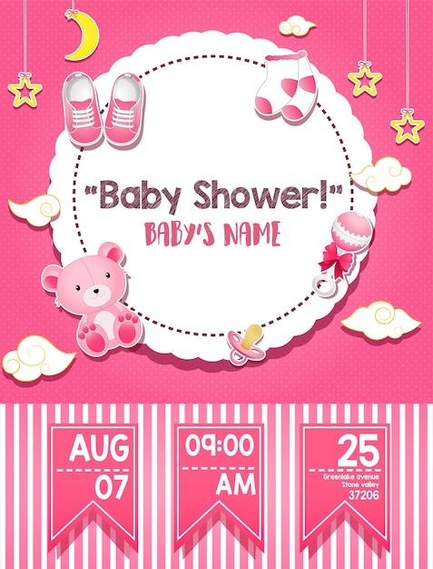 Carte d'invitation de douche de bébé pour fille Vecteur Premium