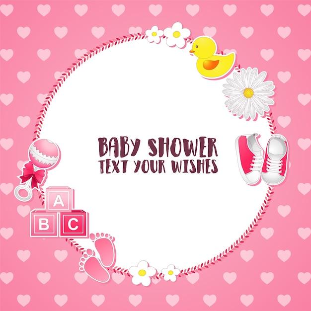 Carte d'invitation de douche de bébé Vecteur Premium