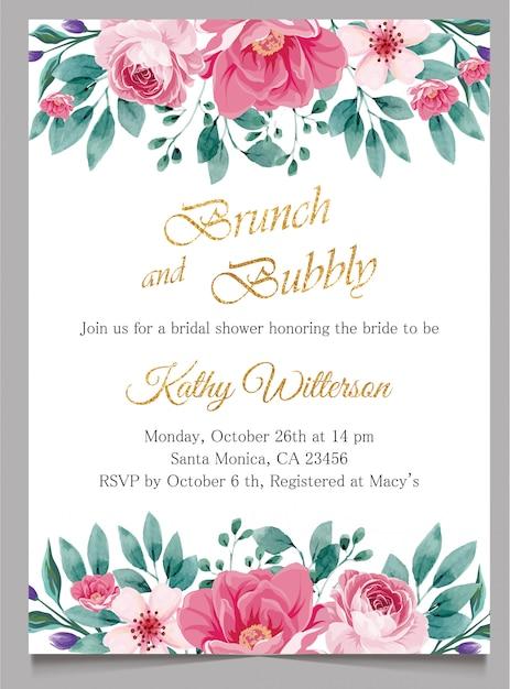 Carte d'invitation de douche nuptiale, brunch et invitation pétillante à l'or Vecteur Premium
