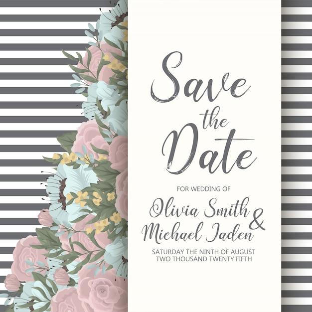 Carte d'invitation élégante de faire-part de mariage floral Vecteur gratuit