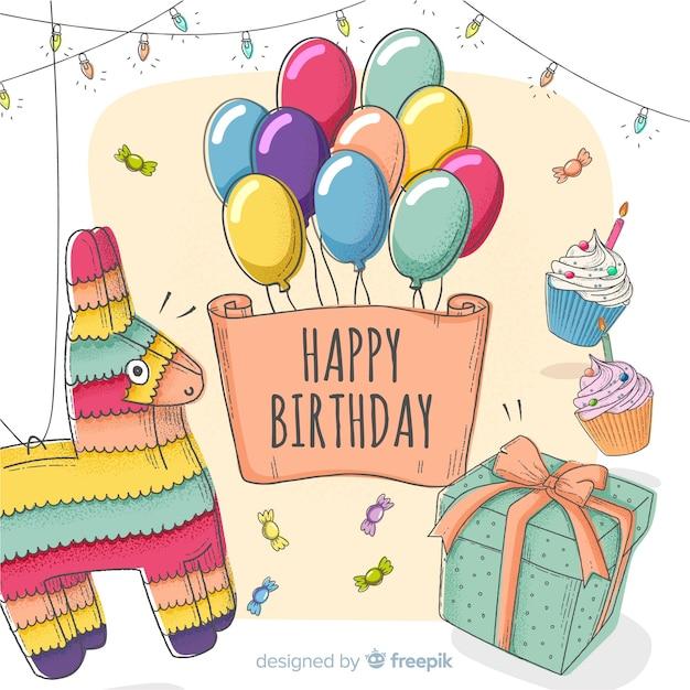 Carte d'invitation enfant joyeux anniversaire Vecteur gratuit