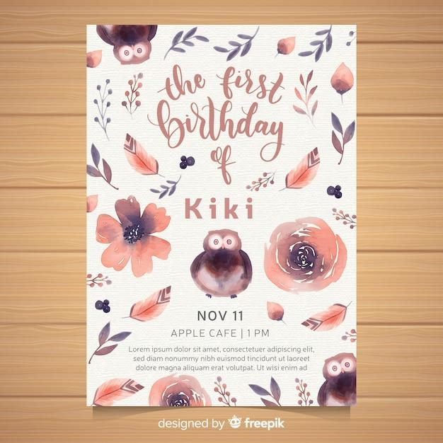 Carte d'invitation de fête d'anniversaire aquarelle Vecteur gratuit