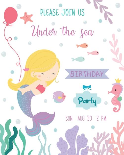 Carte d'invitation de fête d'anniversaire thème de sirène mignon. Vecteur Premium