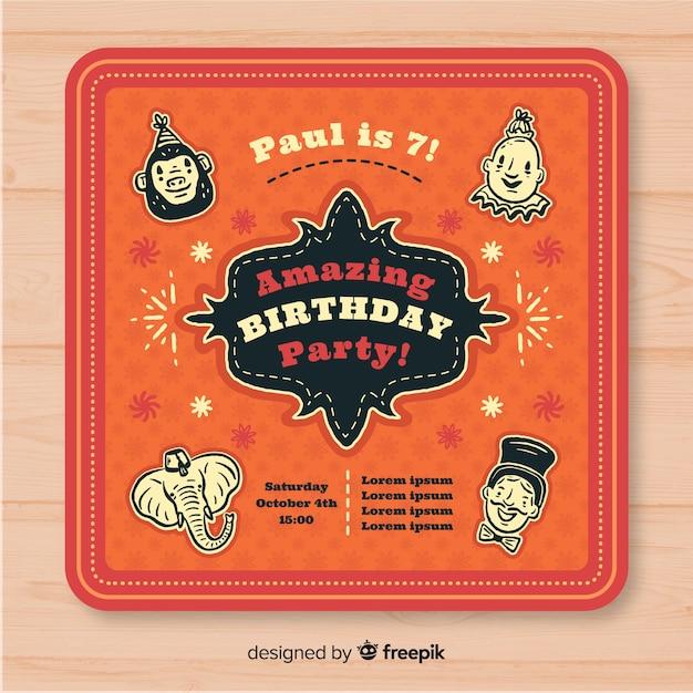 Carte d'invitation de fête de cirque vintage Vecteur gratuit