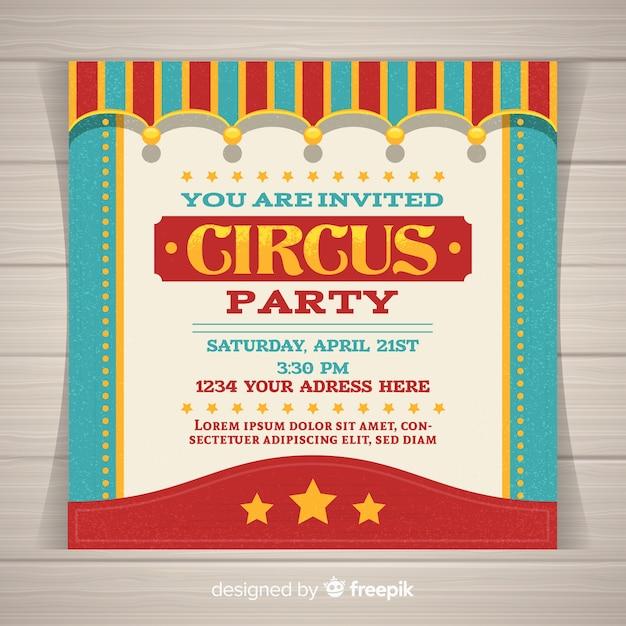 Carte d'invitation de fête de cirque Vecteur gratuit