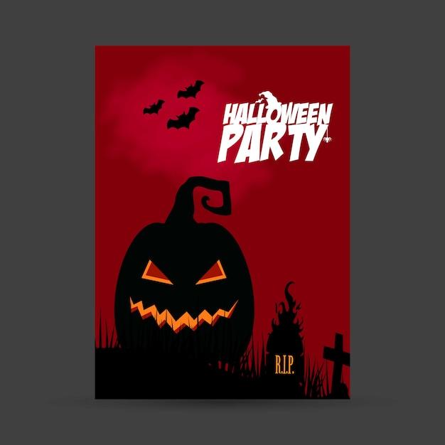 Carte d'invitation fête d'halloween avec vecteur de conception créative Vecteur gratuit