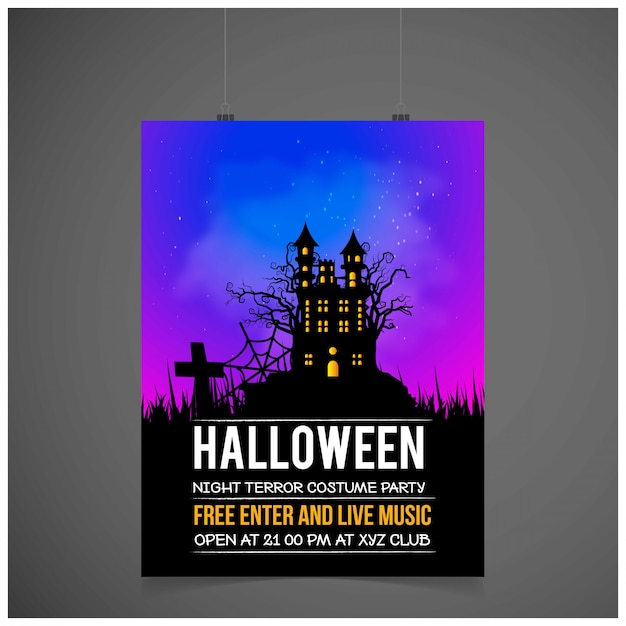 Carte d'invitation fête halloween avec vecteur de design créatif Vecteur gratuit