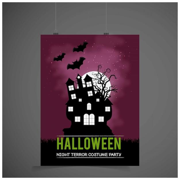 Carte d'invitation fête d'halloween avec vecteur fond sombre Vecteur gratuit