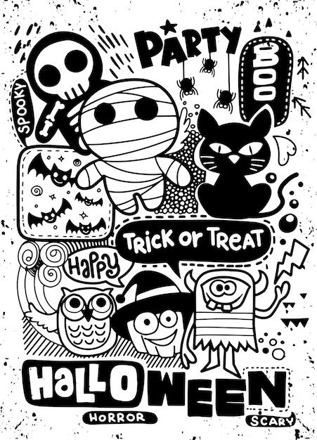 Carte d'invitation de fête d'halloween Vecteur Premium