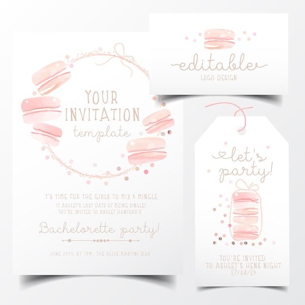 Carte d'invitation de fête de macarons Vecteur Premium