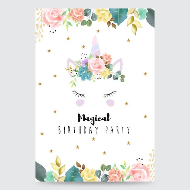 Carte d'invitation fête magique avec une licorne Vecteur Premium
