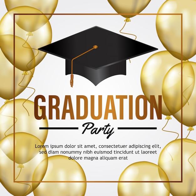 Carte d'invitation de fête de remise des diplômes de luxe Vecteur Premium