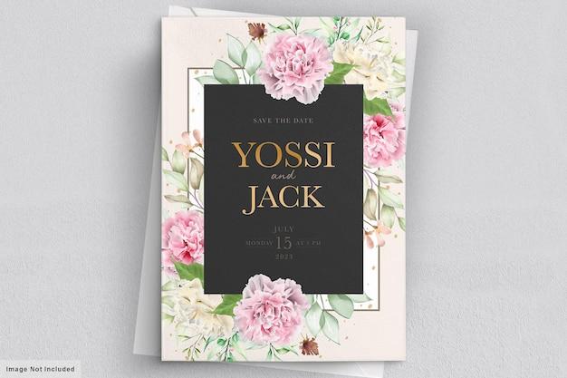 Carte D'invitation De Fleurs D'oeillet Vecteur gratuit