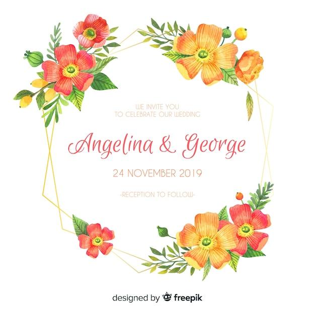 Carte d'invitation floral de mariage Vecteur gratuit