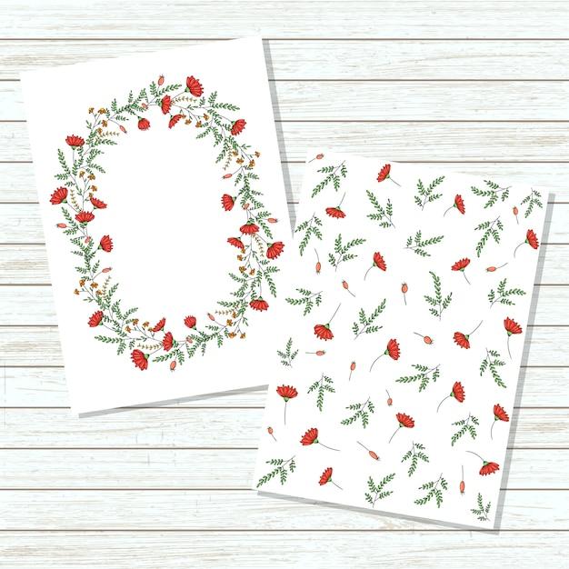 Carte d'invitation floral vector Vecteur Premium