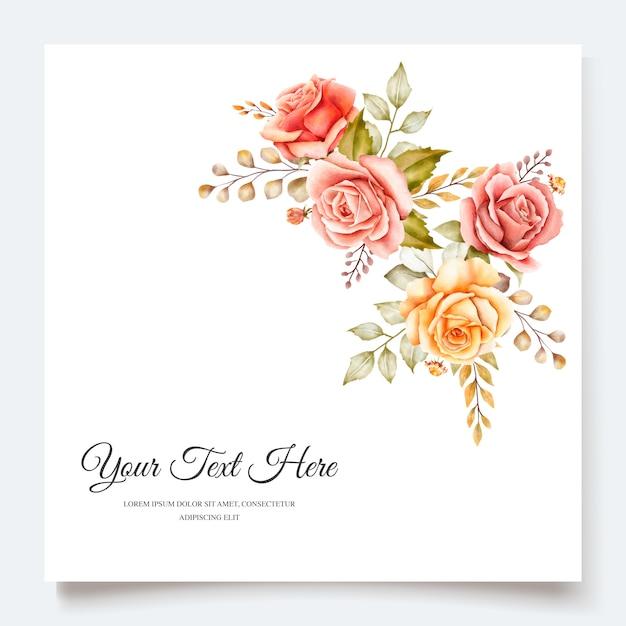 Carte D'invitation Florale Aquarelle Automne Vecteur gratuit