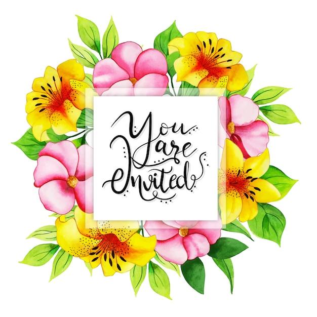Carte d'invitation florale aquarelle Vecteur Premium