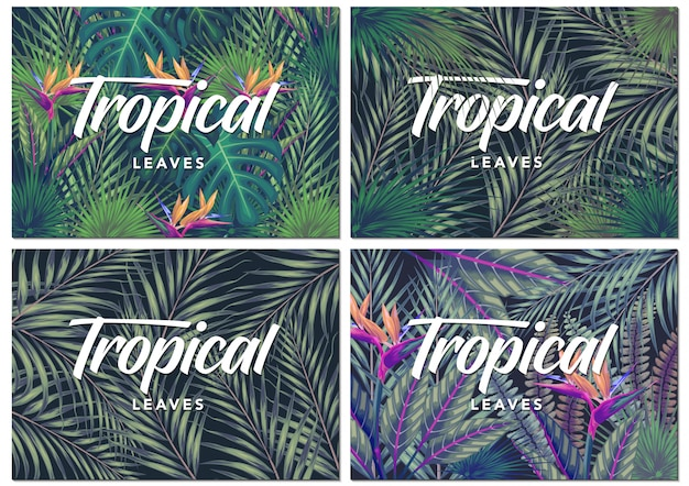 Carte d'invitation avec fond de feuilles tropicales exotiques Vecteur Premium