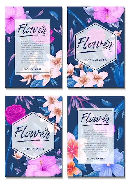 Carte d'invitation avec fond de fleurs tropicales exotiques Vecteur Premium