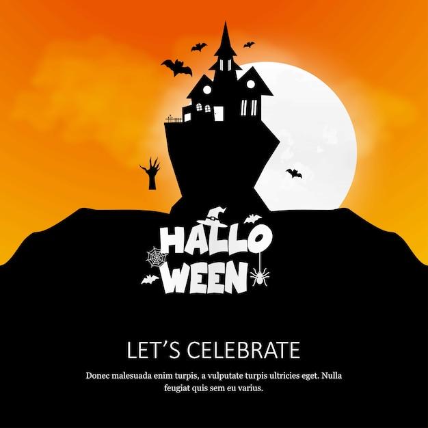 Carte d'invitation happy halloween avec vecteur de design créatif Vecteur gratuit