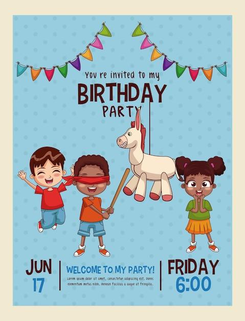 Carte D Invitation Joyeux Anniversaire Enfants Vecteur Premium