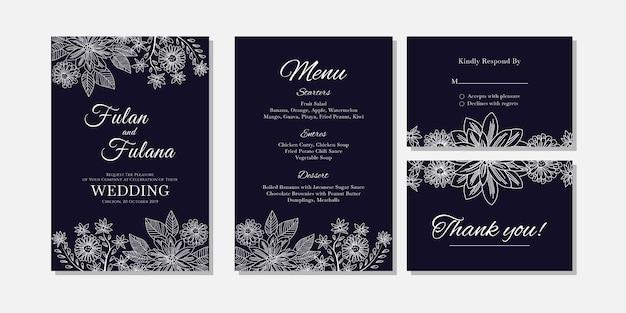 Carte d'invitation de mariage abstrait floral et fleur contour doodle art modèle Vecteur Premium