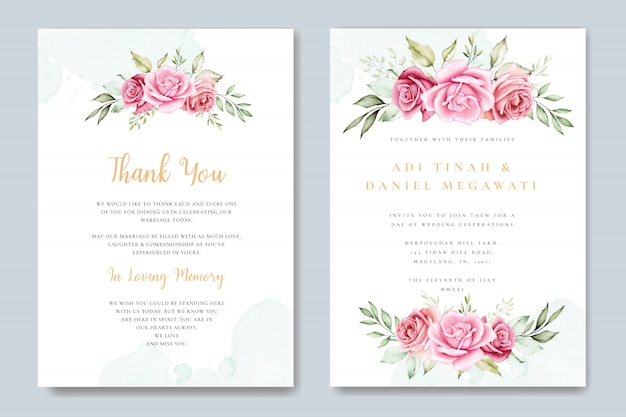 Carte d'invitation de mariage aquarelle avec beau modèle floral et feuilles Vecteur Premium