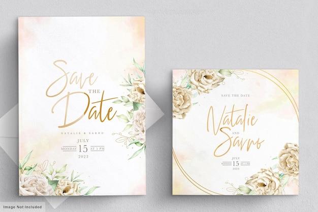 Carte D'invitation De Mariage Aquarelle Chrysanthème Vecteur gratuit