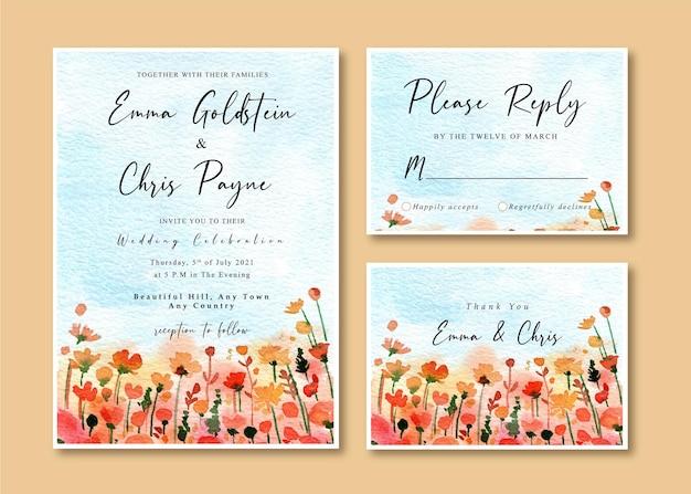 Carte D'invitation De Mariage Aquarelle Avec Ciel Bleu Et Jardin De Fleurs Sauvages Rouges Vecteur Premium
