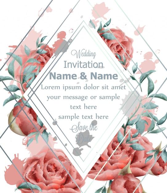 Carte d'invitation de mariage avec aquarelle de fleurs roses Vecteur Premium