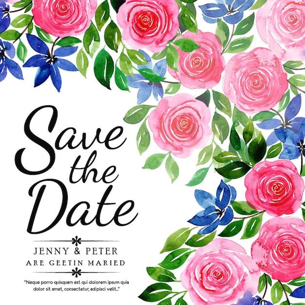 Carte d'invitation de mariage aquarelle floral Vecteur Premium