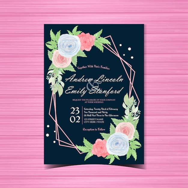 Carte d'invitation de mariage aquarelle florale avec de belles roses bleues et roses Vecteur Premium