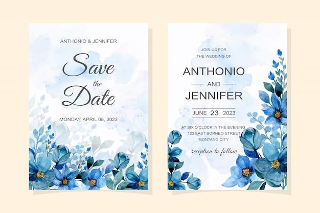 Carte D'invitation De Mariage Avec Aquarelle Florale Bleue Vecteur Premium