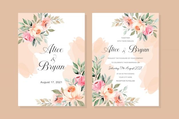Carte D'invitation De Mariage Avec Aquarelle Florale Rose Vecteur Premium
