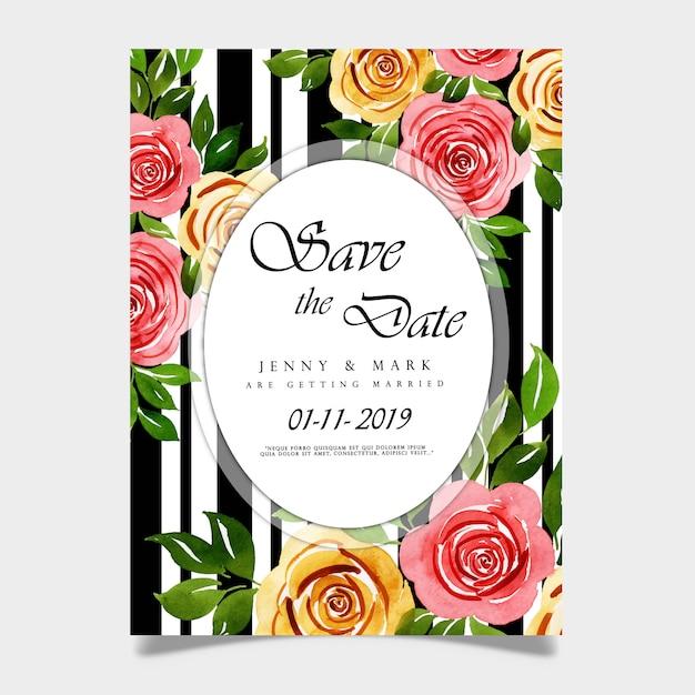Carte d'invitation de mariage aquarelle florale Vecteur Premium