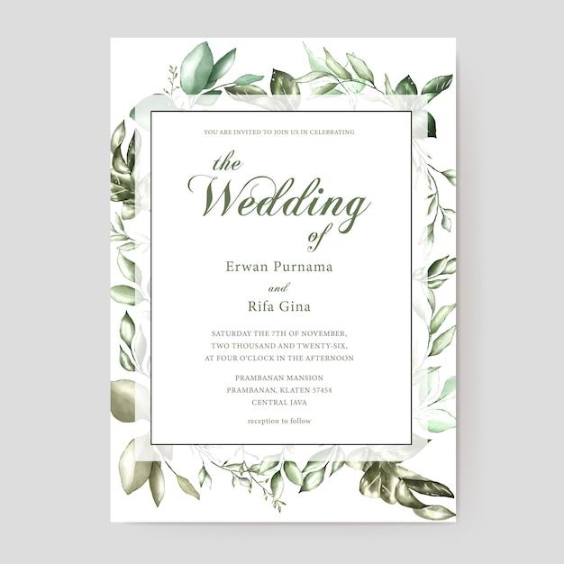 Carte d'invitation de mariage aquarelle Vecteur Premium