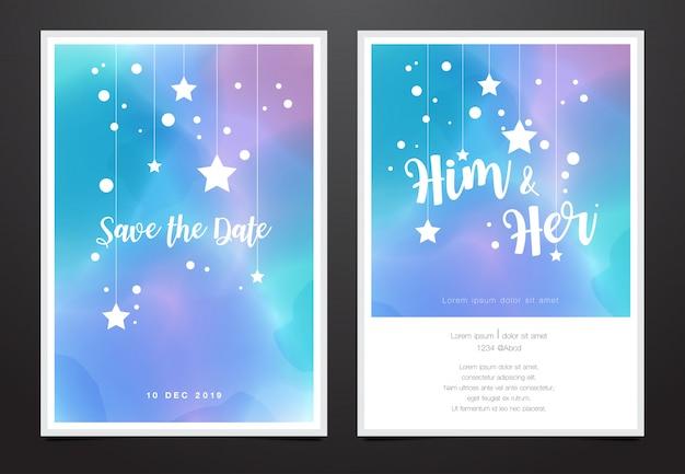 Carte d'invitation de mariage au design aquarelle galaxie Vecteur Premium
