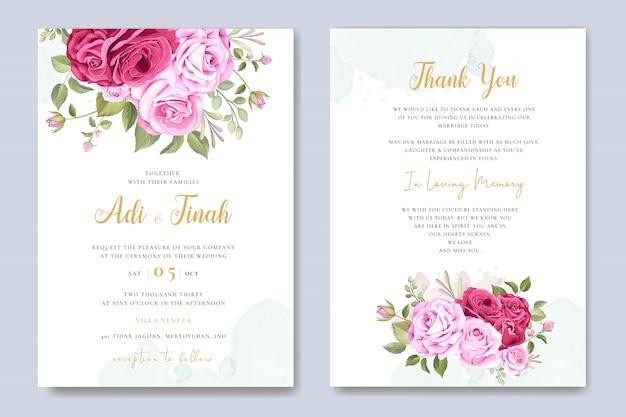 Carte d'invitation de mariage avec beau modèle floral et feuilles Vecteur Premium